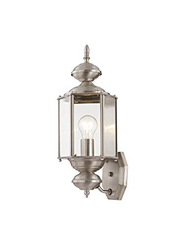 Livex Lighting 2006-91 Outdoor Wall Lantern with Clear Beveled Glass Shades, Brushed - Lantern Wall Basic