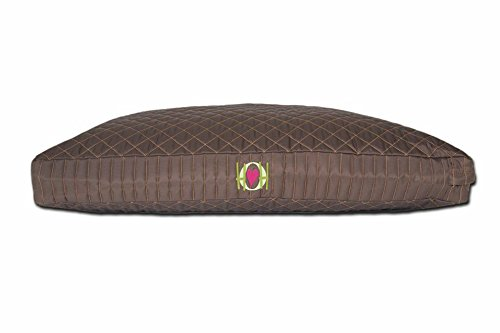HuggleHounds Chew Resistant TuffutLuxx Bed with Waterproof Liner, Large, Belgian Chocolate