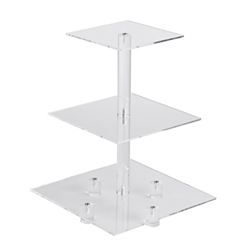 YestBuy 3 Tiers Square Party Wedding Birthday Clear Tree Tower Acrylic Cupcake Stand 3 tier square with base(6