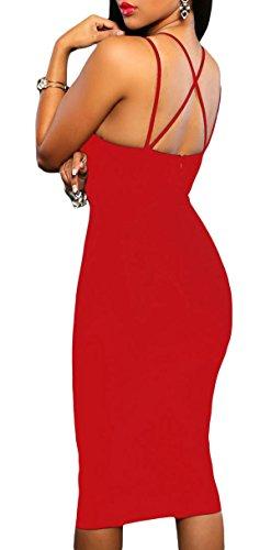 abito aderente sexy party donna donna vestito abito abito scollato Rosso ABILIO vestito dqwO6vd