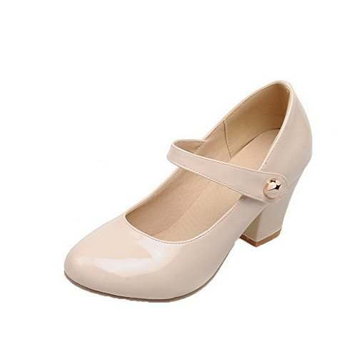 Odomolor Women's Hook-and-Loop Round-Toe Kitten-Heels Patent Leather Solid Pumps-Shoes, Beige, 38