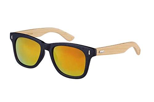 Edge I-Wear Horned Rim Wood Bamboo Sunglasses Mirrored Lens 540845BM-REV-2(M.BLK/rrev)