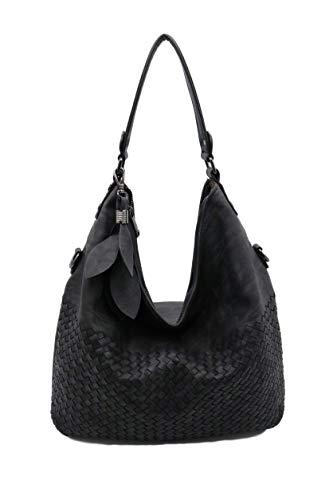 Lucky Charm Vintage Hobo Style Designer handbag Large Shoulder Tote Bag for Women (Black) ()