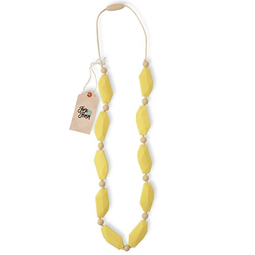 Fox and Finn 'Sophia' Silicone Teething Necklace for Babies | Safety Knotted Silk Rope | Does Not Pull Out Hair | 14 Inch Drop (lemon cream) (Rubber Feed Neck)