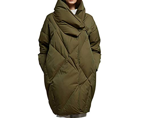 Jacket Women Army Green Elegant Loose Thick Warm Coat 90% White Goose Down Jacket,Army Green,L