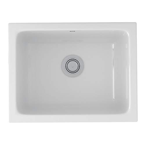 - Rohl 6347-00 23-15/16-Inch by 18-1/2-Inch by 10-13/16-Inch Allia Single Bowl Undermount Fireclay Kitchen Sink in White