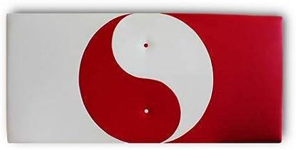 Ventadecolchones - Cabecero Modelo Ying Yang tapizado en Polipiel Blanco y Polipiel Rojo Medidas 121 x 70 cm (para Camas de 105 ó 120 cm)