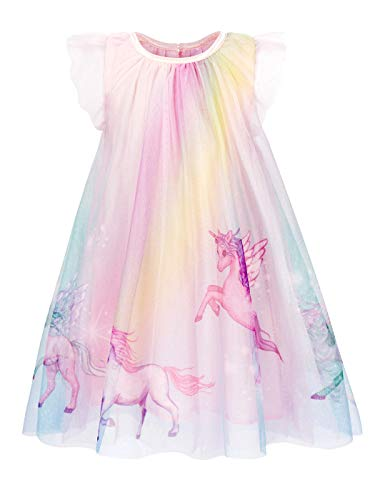 Cotrio Girls' Unicorn Dress Up Toddler Ruffles Sleeve Themed Birthday Party Fancy Dresses Kids Loose Comfy Nightgown Skirts Size 8 (130, 7-8Yrs, Rainbow)]()