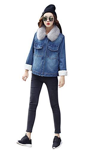(ACE SHOCK Winter Coat for Women Denim, Short Berber Fleece Lined Jeans Jacket with Faux-Fur Collar (US Size-M) )