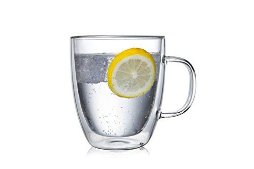 Large Premium Heat Resisting Glass Cup or Mug (Single Cup - 1 Cup) - 500 ML or 16.9 OZ (Ounces) - Double Walled Insulated Glass - Dishwasher & Microwave Safe - Clear, Unique & Insulated with Handle by B&Z Glass (Image #9)