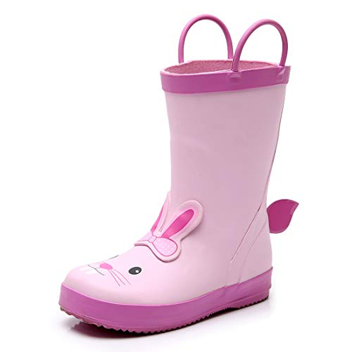 TRIPLE DEER 3D Girl Rubber Rain Boots, Cute Animal Lightweight Waterproof Raining Shoes for Toddlers & Little Kids Age 1-6, with Easy-on Handles (Yellow Duck/Pink Rabbit) (Toddler 6M, Rabbit)