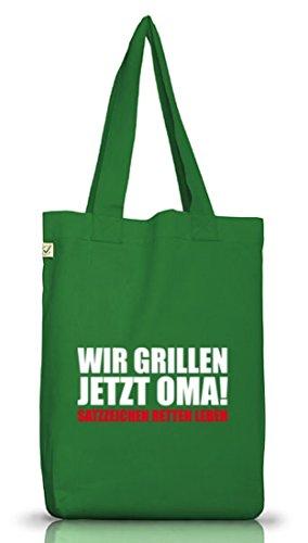 Shirtstreet24, Wir Grillen Jetzt Oma! Jutebeutel Stoff Tasche Earth Positive Moss Green
