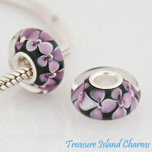 Harissa Pink Flower Black LAMPWORK Murano Glass 925 Sterling Silver European Bead Charm Crafting, Bracelet Necklace Jewelry Findings Jewelry Making Accessory
