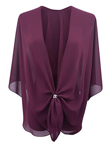 eXcaped Womens Evening Shawl Sheer Chiffon Cape Silver Scarf Ring Set - Burgundy