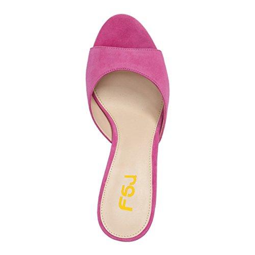 Fsj Femmes Faux Daim À Talons Hauts Mules Peep Toe Slip Sur Des Sandales Occasionnels Diapositives Chaussures Taille 4-15 Nous Fuchsia-5 Cm