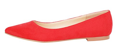 Ballet Pointed Toe Comfortable Pumps Flats Court Shoes C Women's suede Casual Genuine Red queenfoot Leather wIptxYFaqn