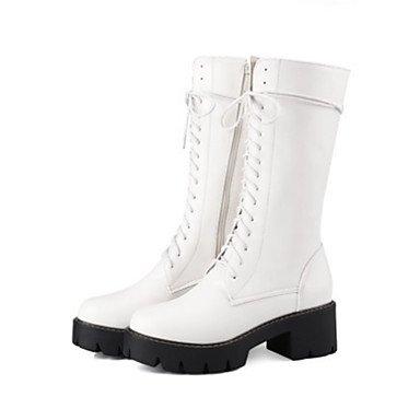 botas Office puntera botas Mid Carrera Otoño RTRY Lace Zapatos Invierno mujer Calf Up botas para Confort de amp;Amp; Chunky moda EU39 CN39 talón redonda UK6 cremallera Novedad Pu US8 qrTqzBnaO