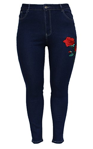 Barfly Slim Fit High Floral Waist New Fashion Womens Black Skinny Denim Embroidered Ladies Jeans 10 Blue Applique rqwvTrxUg7