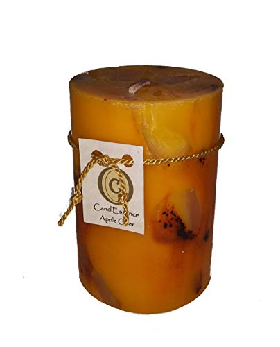 Handmade Scented Candle - Long Burning Pillar - Apple Cider Scent (Small)
