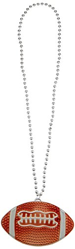 amscan Football Pendant Bead Necklace, Party Favor, 6 Ct. ()