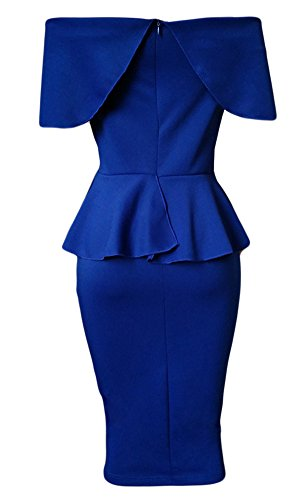 Bodycon Women Ruffle Peplum Party Plain Blue Dress Pencil Blansdi Off Shoulder CXwqxfx