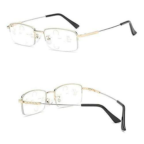 Gafas de lectura alemanas con zoom inteligente Gafas de lectura multifocales anti luz azul (Negro, 250°)