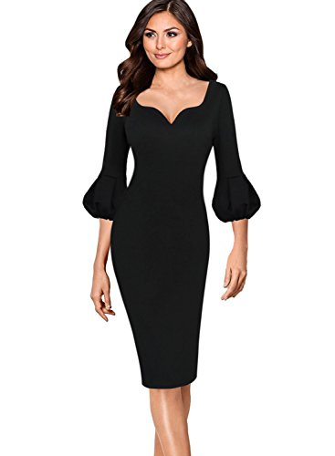 VfEmage Womens Elegant 3/4 Bell Sleeves Work Party Cocktail Sheath Dress 051 Blk XXXL