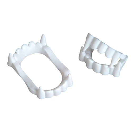 [White Vampire Fangs Plastic Werewolf Teeth Halloween Costume Accessory (3)] (Adult Vampire Halloween Costumes)