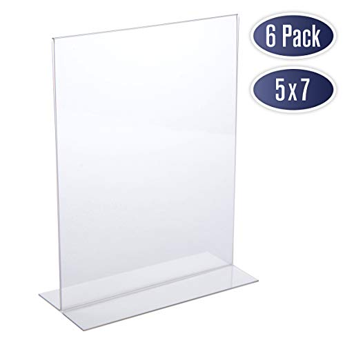 Double Sided Picture Frame 5x7 - Acrylic Clear Picture Frames for Photo Holder, Table Menu Stand, Portrait Style Ad Frames, Bottom Load Acrylic Display, Table Numbers for Wedding, Centerpiece (6 Pack)