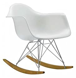 HCD 10050 Molded Modern Plastic Armchair-Rocking Mid Century Style Lounge Cradle Arm Chair-Contemporary Accent Retro Chrome Steel Eiffel Base-Ash Wood Rockers-Nursery Living Room-M
