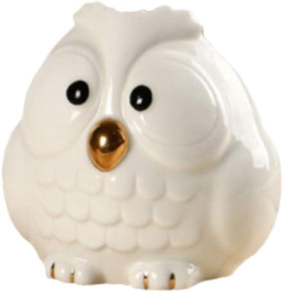 Cute Owl Shaped Toothpick Pen Pencil Holder, White Ceramic Pen Pencil Holder for Home Office Decoration Desk Organization