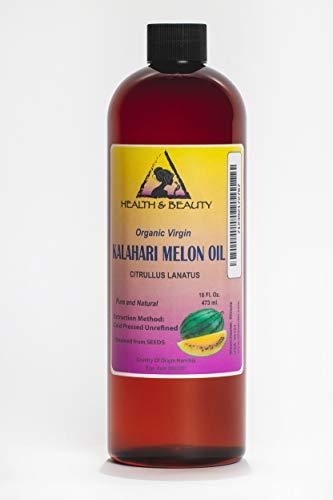 Kalahari Melon Seed Oil Unrefined Organic Virgin Raw Cold Pressed Prime Fresh Pure 16 oz (Sea Buckthorn Seed Oil For Hair Growth)