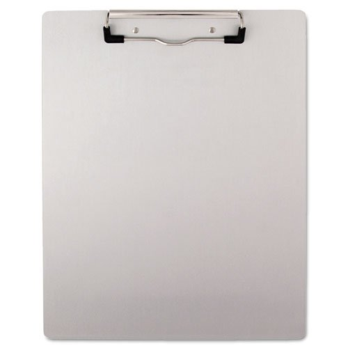 Packing Clipboard - UNV40303 Brushed Aluminum Plastic Clipboard, 1/2quot; Capacity, Holds 8-1/2w x 11h, Silver
