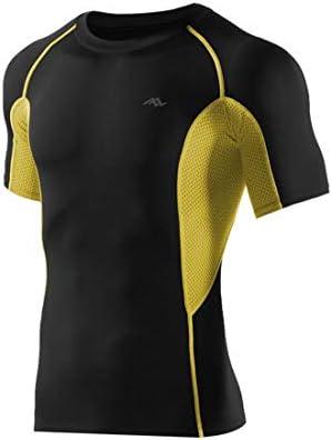 Whhhherr Camisa de Compresión de Manga Corta for Hombres Compresor de Compresión for Hombres Camisetas de Manga Corta de Entrenamiento Atlético (Color : Amarillo, Size : XXXL): Amazon.es: Deportes y aire libre