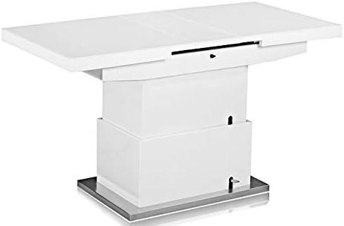 Dematex - Mesa de comedor extensible, altura regulable, de alto brillo, con patas de acero inoxidable y madera maciza, para cocina, salón (170 x 80 x 78 cm): Amazon.es: Juguetes y juegos