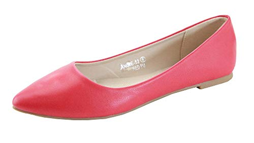 (Bella Marie Angie-53 Women's Classic Pointy Toe Ballet Slip On Flats Shoes (8, Red-PuLeather))
