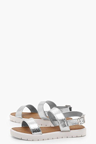 YourPrimeOutlet Womens Emily Two Part Cleated Sandals Silver 9GlTd3m