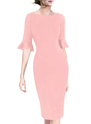 (VFSHOW Womens Elbow Bell Sleeve Work Business Office Cocktail Party Sheath Dress 2286 PIK S Peach Pink)