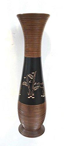 Baan Tawai, Chiang Mai, Mango Wood Vase Hand-Crafted, Floor Vase 30 inches (No.001)