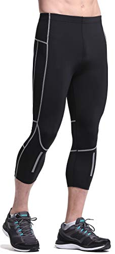 b543bdfadd5e19 Leevy 3/4 Compression Capris Running Tights for Men&Youth Boy Base Layer  Workout Leggings Pants