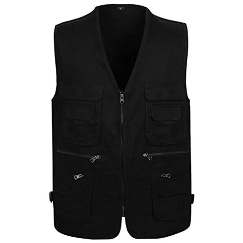 Big And Tall Cotton Vest - Jade Hare Men's Summer Casual Outdoor Work Multi-Function Pockets Fishing Photo Journalist Cotton Vest (Black Zip, Large)