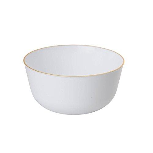 Trendables Premium Plastic Bowls, Disposable Food Grade Plastic Bowls - Flora Design - 40 Pack