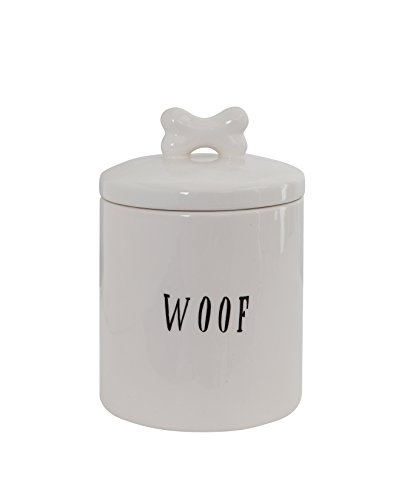 Woof Dish Dog - Creative Co-op DA5576 Woof Ceramic Dog Treat Jar, With With Bone Handle, White