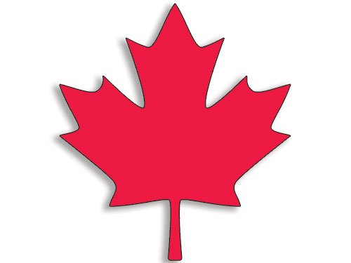 American Vinyl Large Red Maple Leaf Shaped Sticker (Canadian Decal Canada) (Stickers Maple Canadian Leaf)