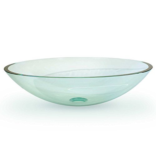 Miligore Modern Glass Vessel Sink - Above Counter Bathroom Vanity Basin Bowl - Oval Clear