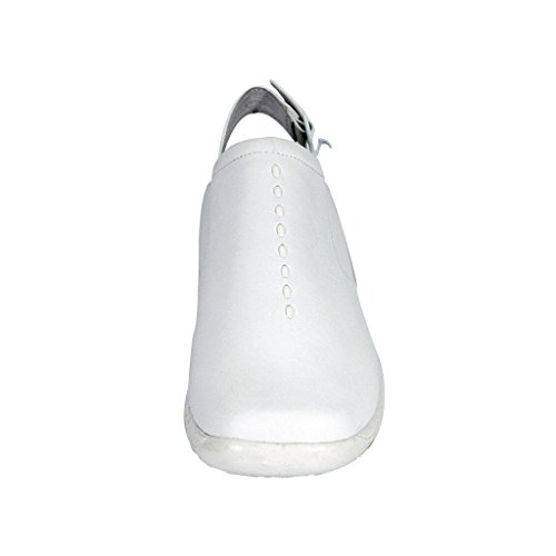 24 Hour Comfort Myra Women Wide Width Elegant and Classic Durable Comfortable Leather Slingback Clogs White