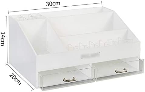 化粧品収納ボックス 大容量の化粧品収納ボックス引き出し収納ボックス化粧品棚分類可能アクリル素材片手持ちハンドル白黒透明 JAHUAJ (Color : White)