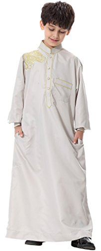 Ababalaya Teenager's Long Sleeve Mock Neck Embroidered Muslim Thobes Dishdasha Easter Wear, Silver, L