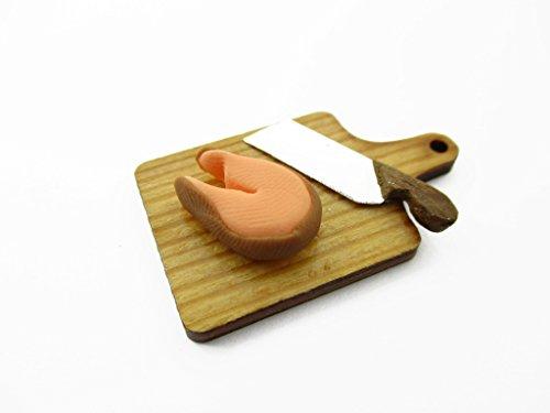 Dollhouse Miniatures Food Preparation Salmon Knife On Wooden Board 13704