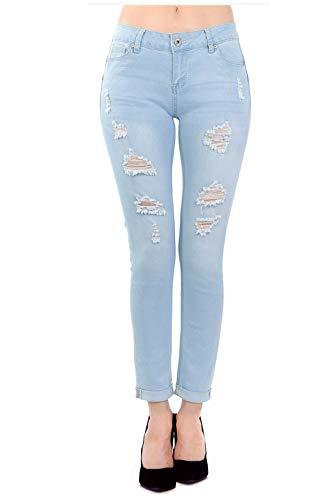 TwiinSisters Women's Amazing Butt Lift Mid-Rise Stretch Denim Skinny Jeans with Spandex (Denim Lift Butt)